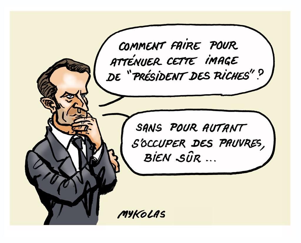 dessin d'actualité d'Emmanuel Macron s'interrogeant sur son image de Président des riches