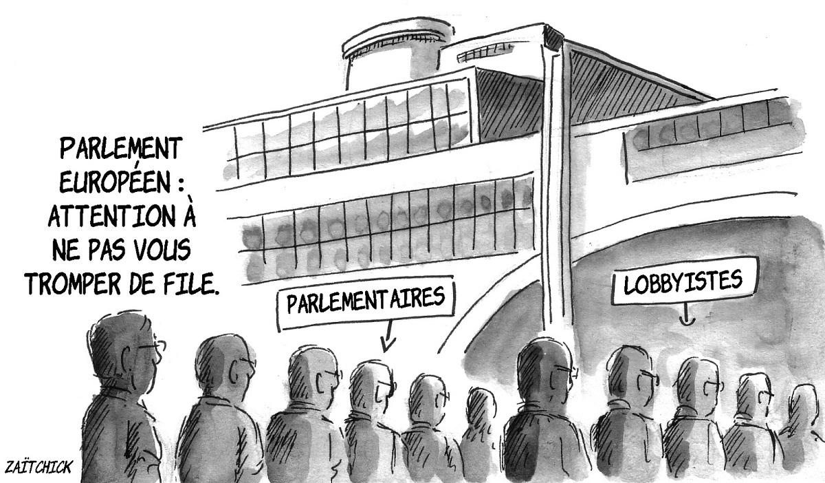 dessin d'actualité illustrant le lobbyisme au sein du Parlement Européen