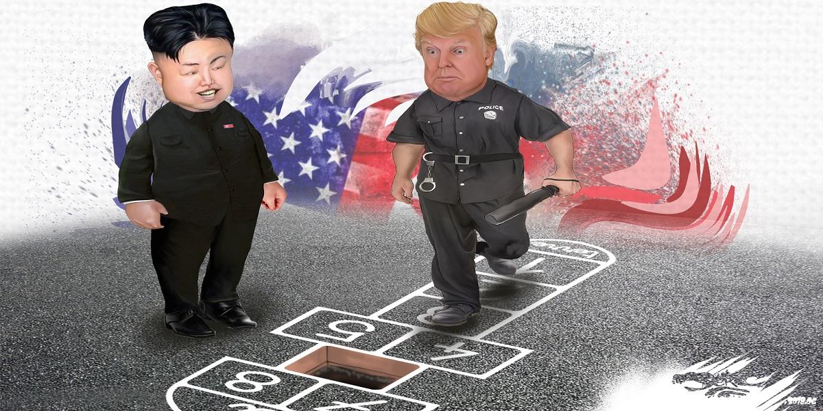 dessin d'actualité montrant Donald Trump et Kim Jong-un jouant paisiblement à la marelle