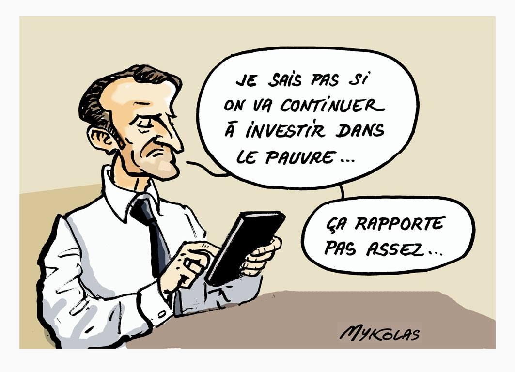 dessin d'actualité humoristique d'Emmanuel Macron réfléchissant à sa politique pour les pauvres