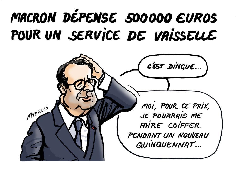dessin d'actualité humoristique de François Hollande parlant de la vaisselle d'Emmanuel Macron