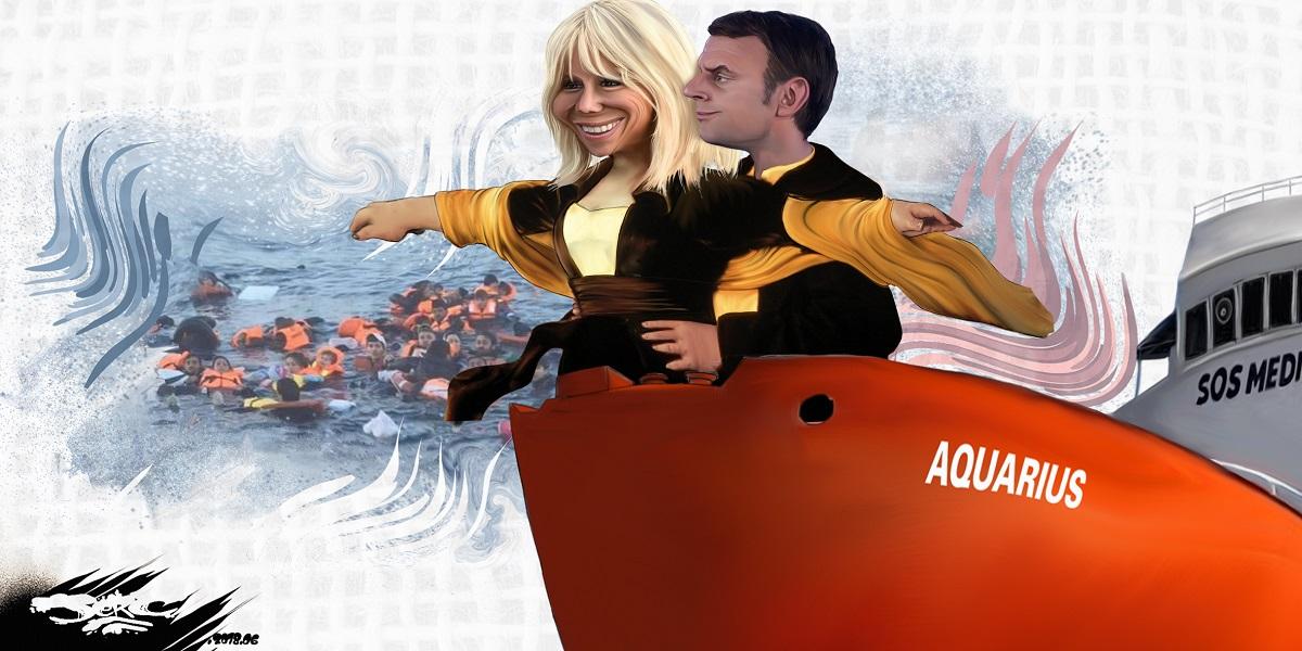 dessin d'actualité humoristique de Brigitte Macron et Emmanuel Macron à bord de l'Aquarius