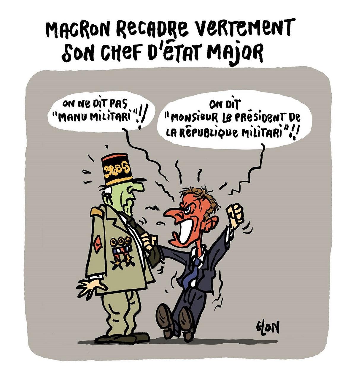 """dessin d'actualité d'Emmanuel Macron recadrant toute personne l'appelant """"Manu"""""""