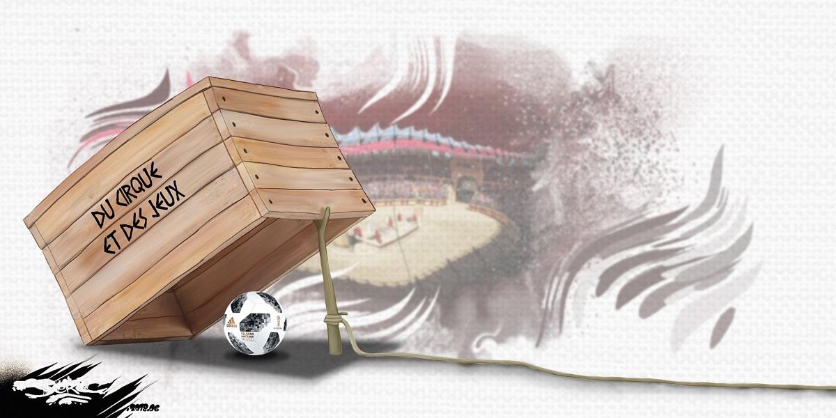dessin d'actualité humoristique de la coupe du monde de football en Russie