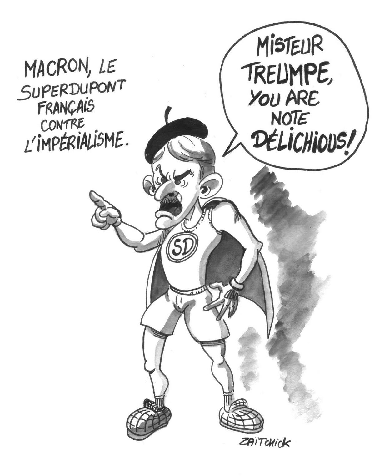 dessin d'actualité montrant Emmanuel Macron en Superdupont contre Donald Trump