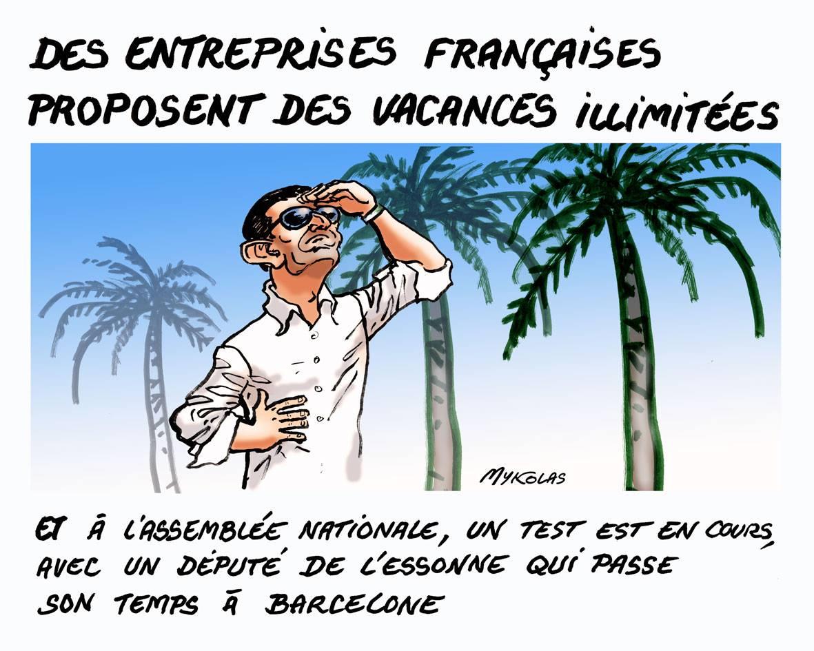 dessin d'actualité de Manuel Valls, député de l'Essonne, en vacances illimitées à Barcelone