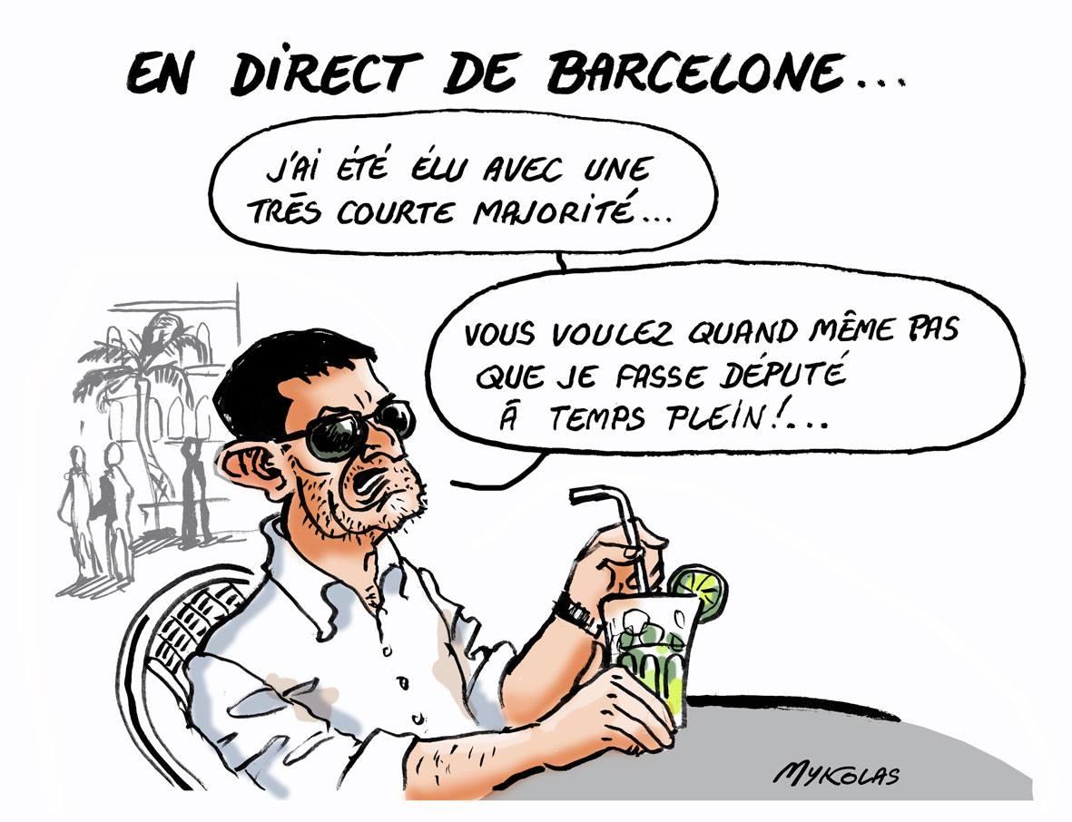 dessin d'actualité de Manuel Valls en villégiature à Barcelone