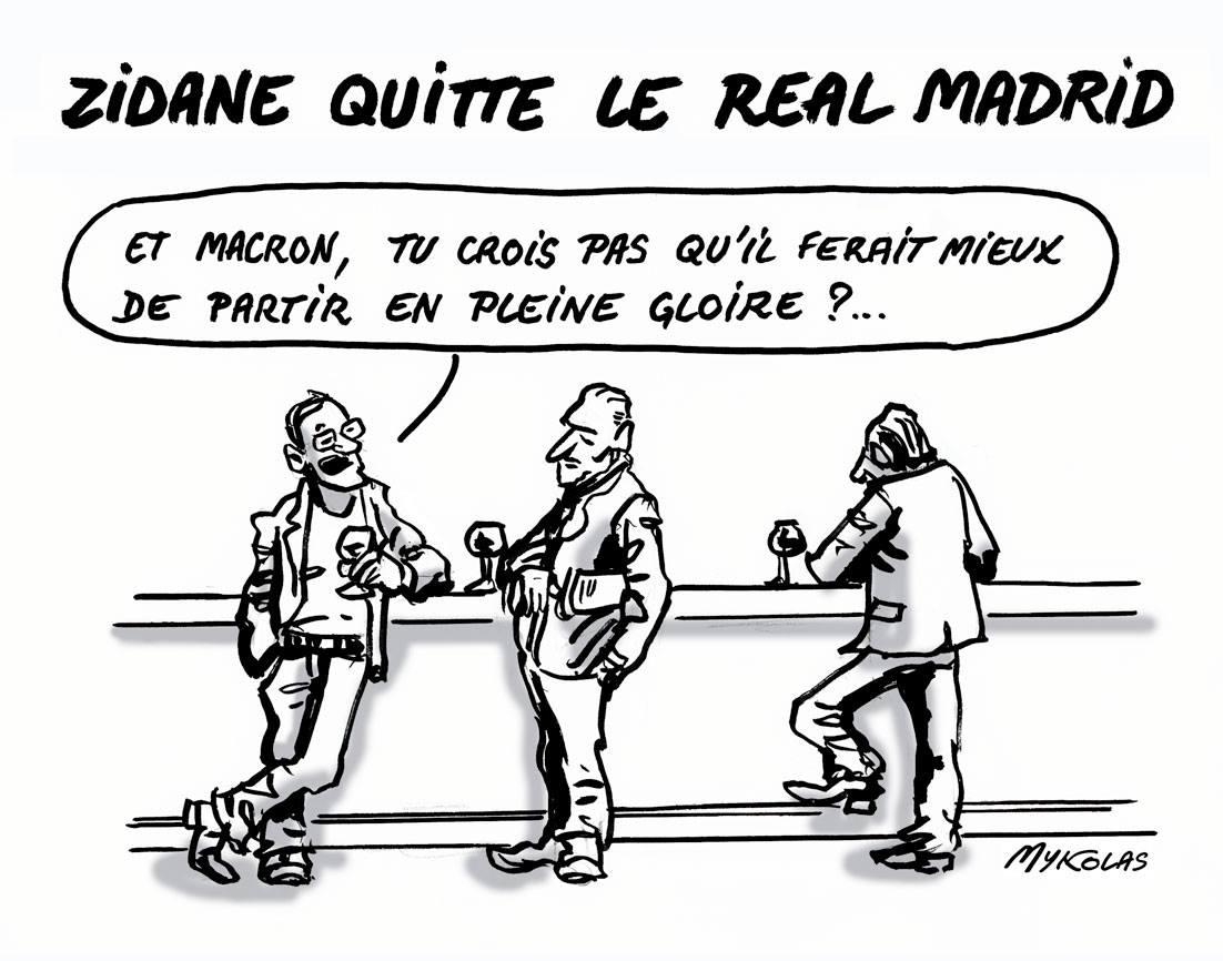 dessin d'actualité de consommateur dans un bar parlant du départ de Zinédine Zidane et d'Emmanuel Macron