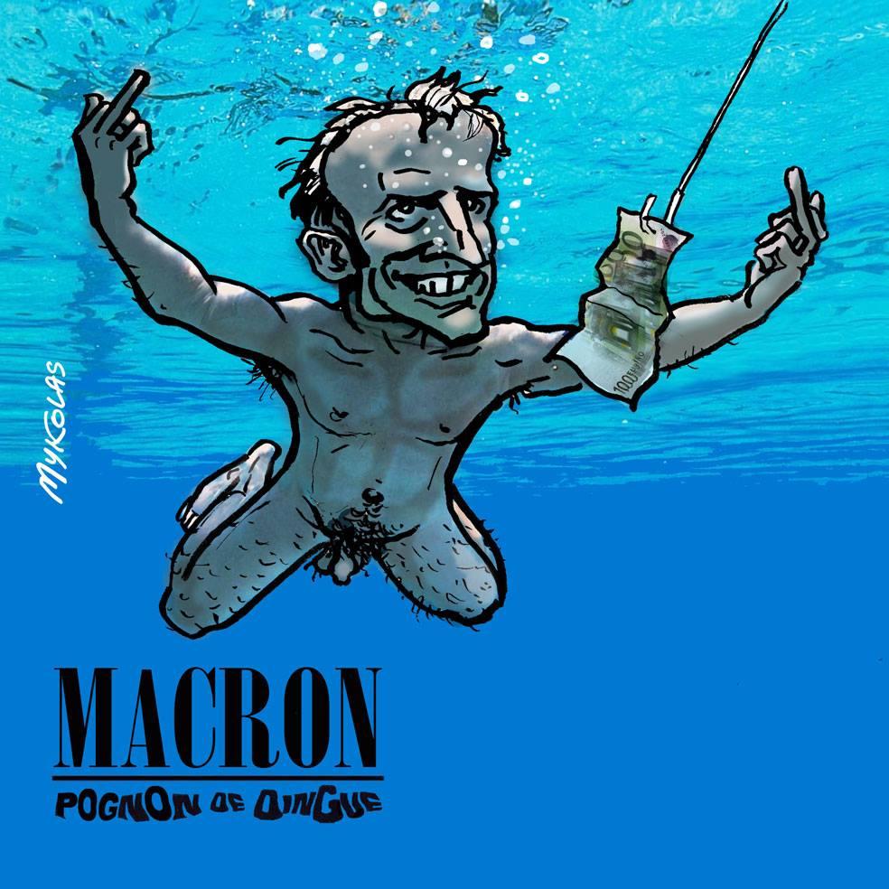 dessin d'actualité d'Emmanuel Macron dans sa piscine coûtant un pognon de dingue