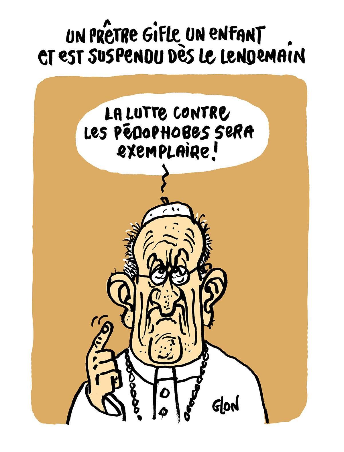 dessin d'actualité du Pape François réagissant à l'affaire du prêtre qui a giflé un enfant lors de son baptême