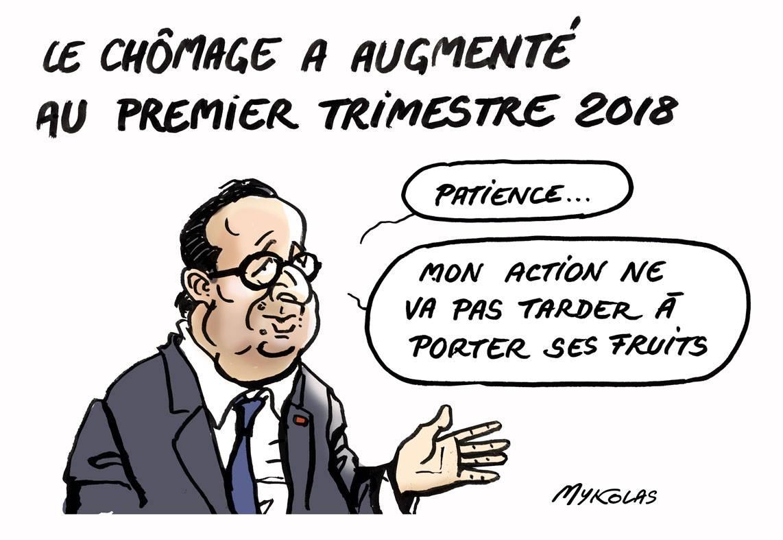 dessin d'actualité humoristique de François Hollande commentant l'augmentation du chômage