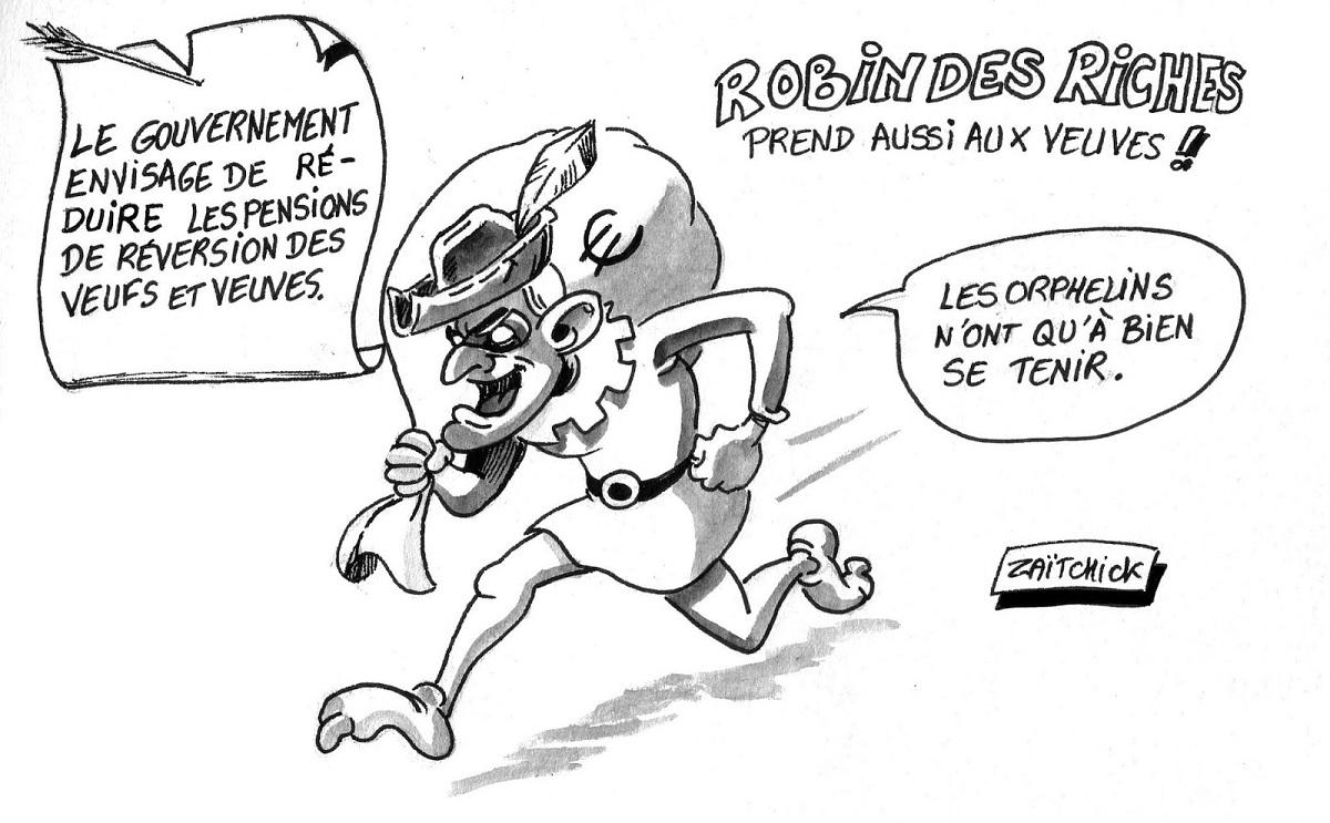 dessin d'actualité d'Emmanuel Macron en Robin des Riches volant les pensions de réversions