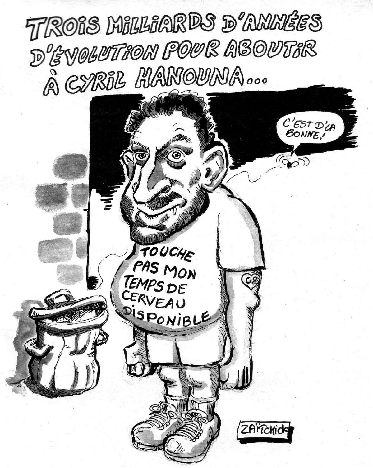 Dessin d'actualité humoristique sur Cyril Hanouna et le temps de cerveau disponible