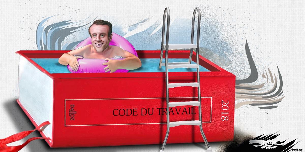 dessin d'actualité montrant Emmanuel Macron dans sa nouvelle piscine du Fort de Brégançon