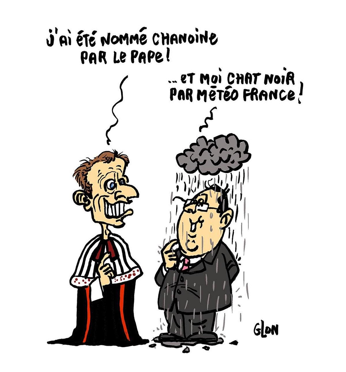dessin d'actualité montrant Emmanuel Macron en Chanoine et François Hollande en Chat Noir