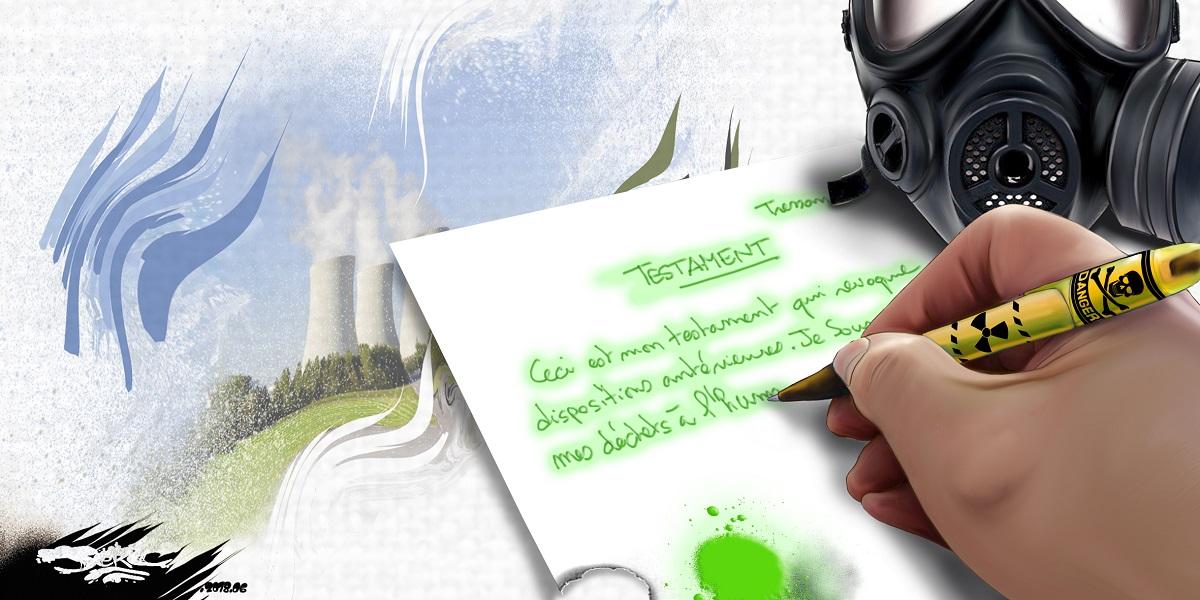 dessin d'actualité du testament de l'humanité pour les déchets nucléaires