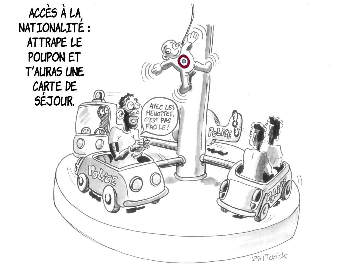 dessin d'actualité sur l'assouplissement des conditions d'obtention de la nationalité française