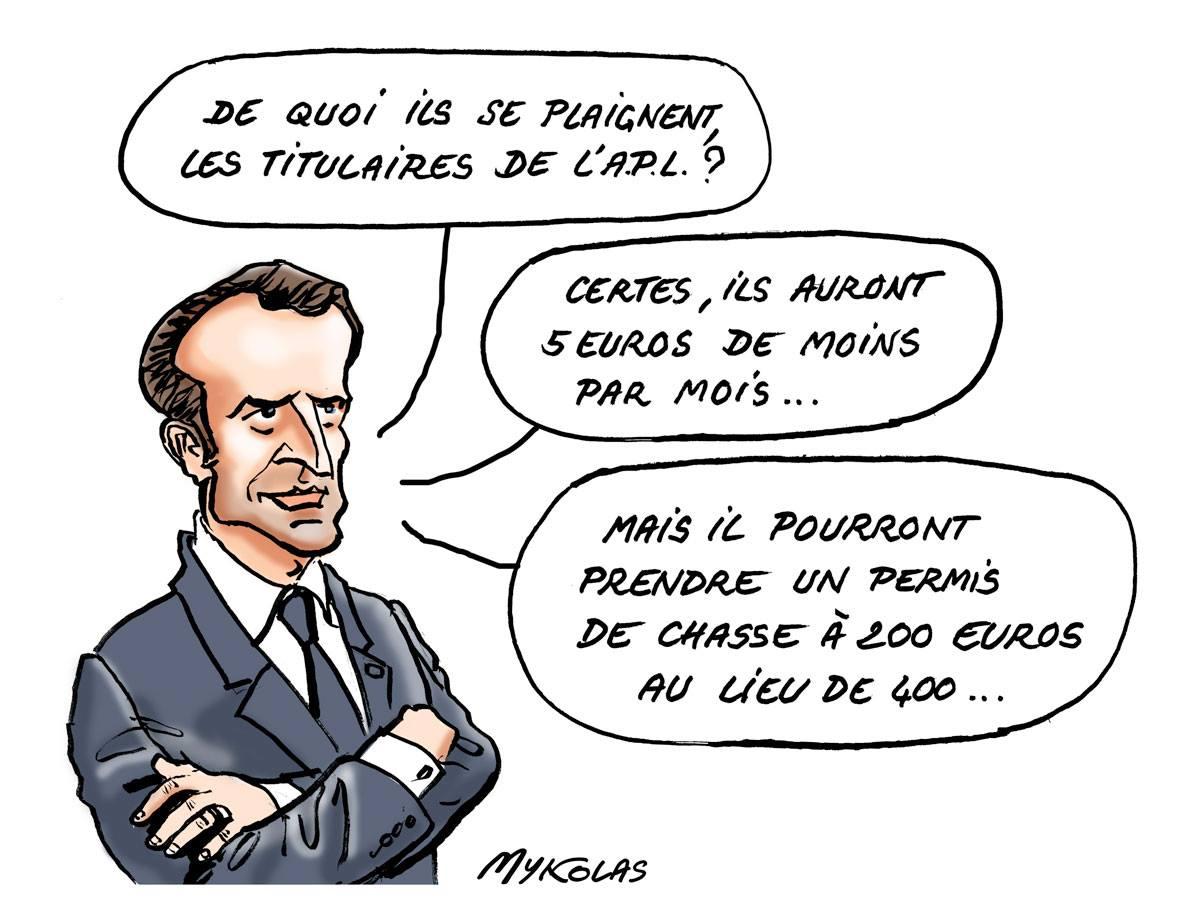 dessin d'actualité d'Emmanuel Macron parlant des allocataires et des chasseurs