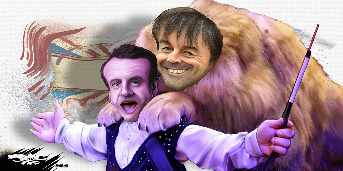 dessin d'actualité humoristique sur les relations particulières entre Emmanuel Macron et Nicolas Hulot