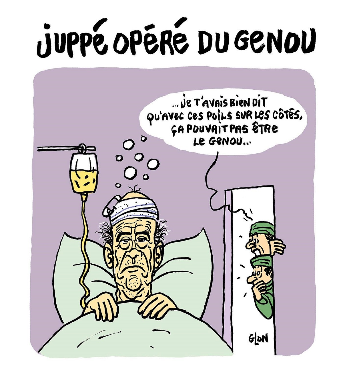 dessin d'actualité humoristique montrant Alain Juppé après son opération du genou de la tête