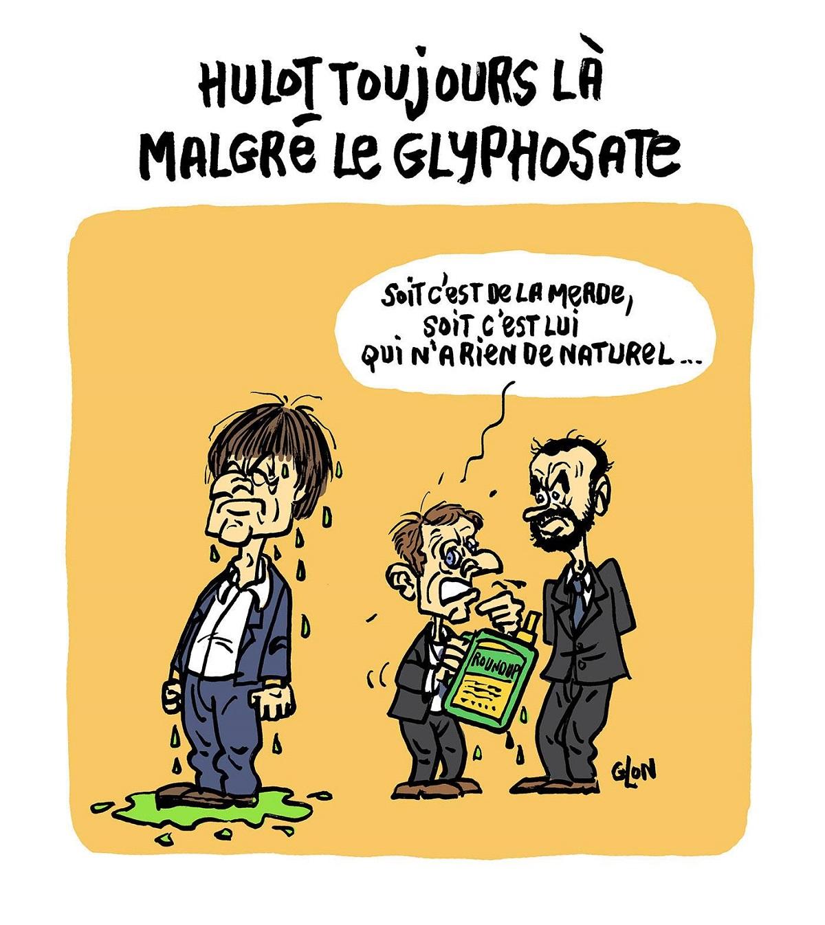 dessin d'actualité humoristique montrant Emmanuel Macron arrosant Nicolas Hulot de glyphosate et se plaignant à Édouard Philippe qu'il ne fonctionne pas