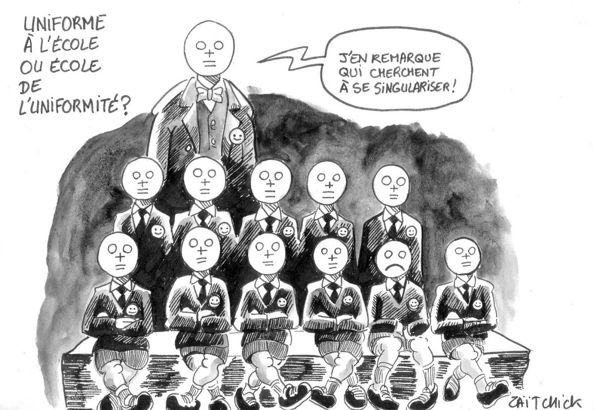 dessin d'actualité humotistique d'une classe d'écoliers en uniformes