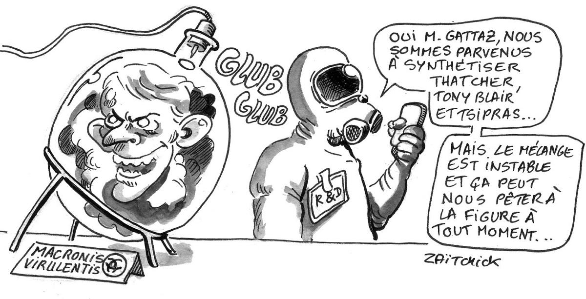 dessin d'actualité humoristique montrant la manipulation génétique nécessaire à la création d'Emmanuel Macron