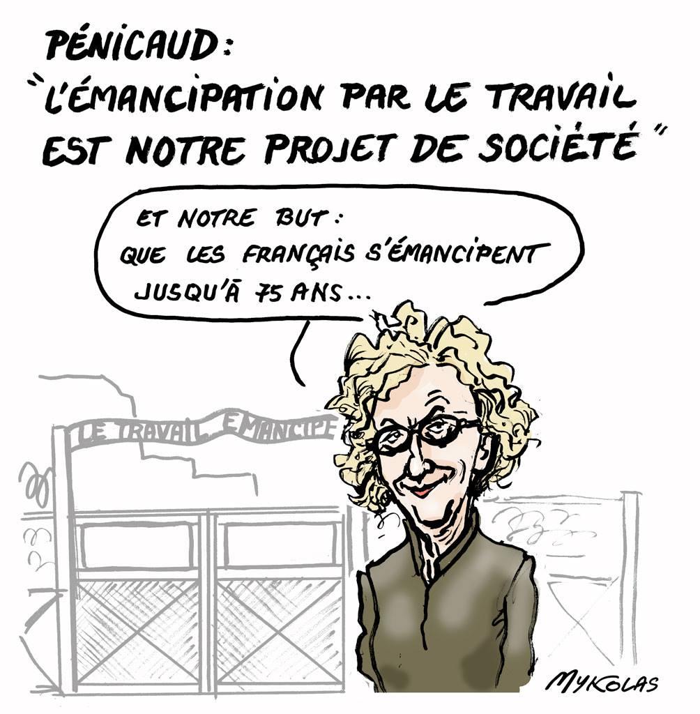dessin d'actualité humoristique de Muriel Pénicaud voulant émanciper les français par le travail