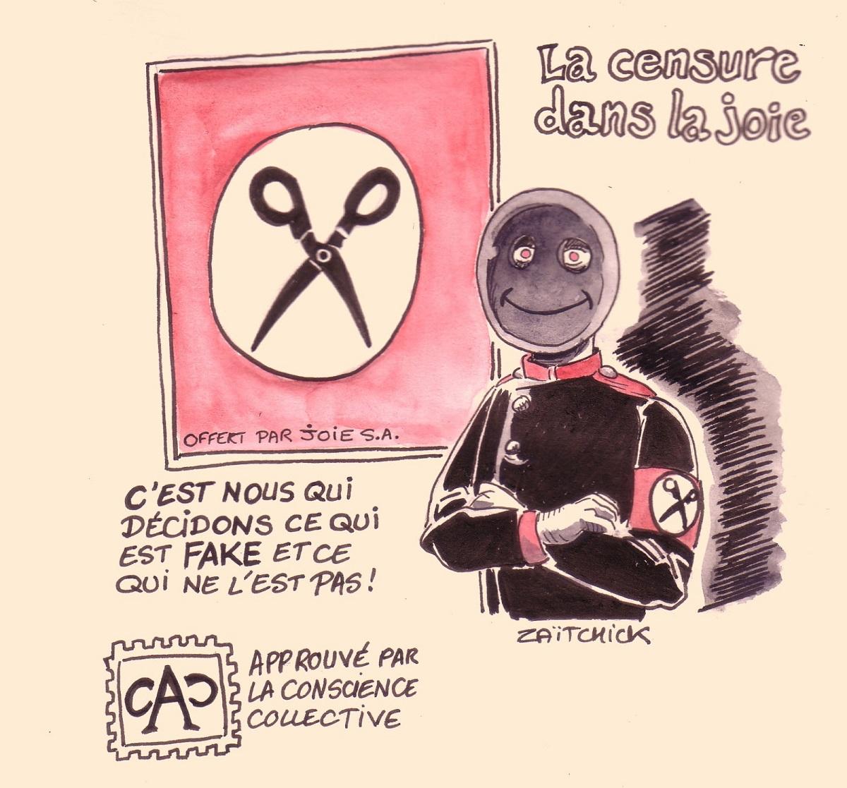 dessin d'actualité humoristique traitant de la censure étatisée