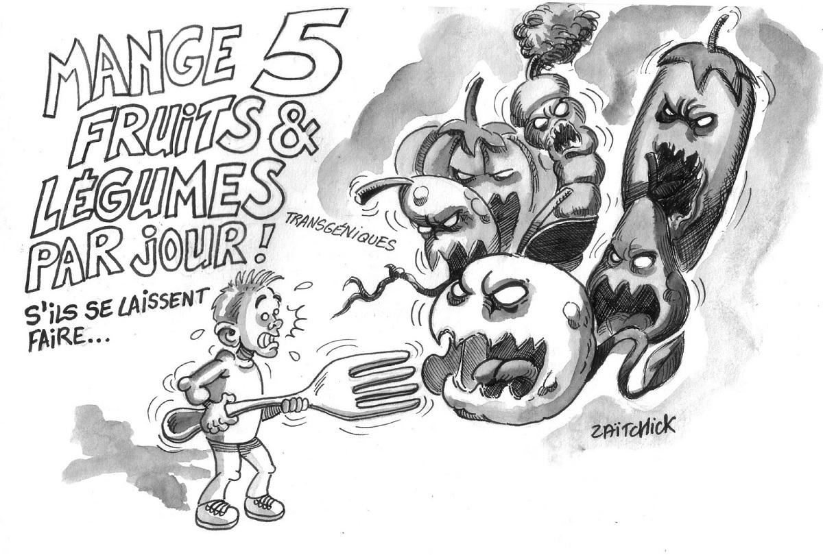 dessin d'actualité montrant un enfant confronté à des fruits et légumes transgéniques