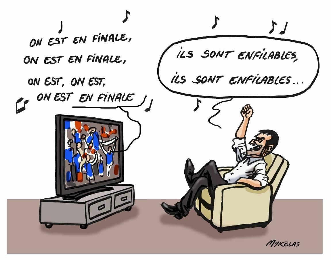 dessin d'actualité sur la qualification de la France en finale de la Coupe du monde