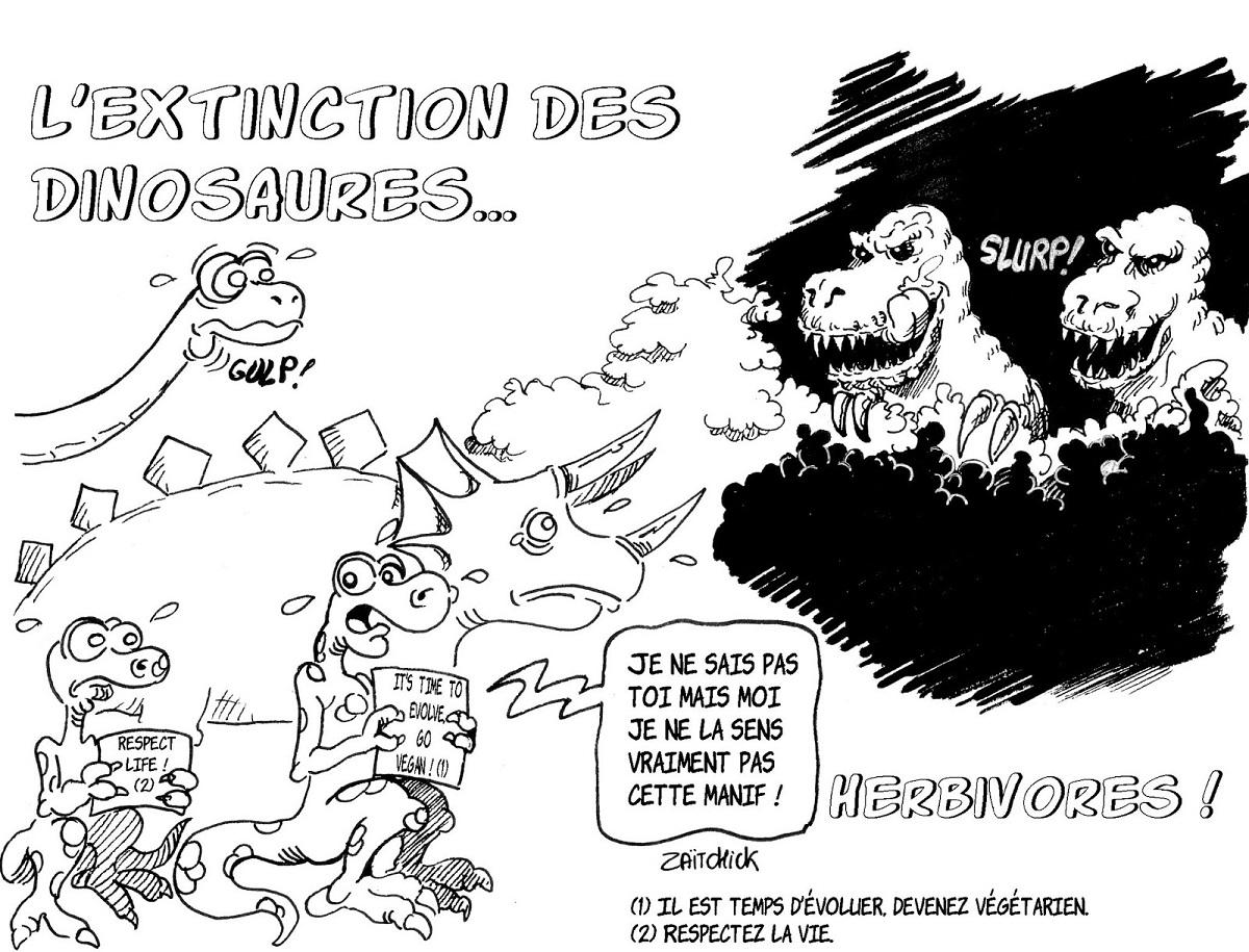 dessin d'actualité sur l'opposition entre végans et viandards