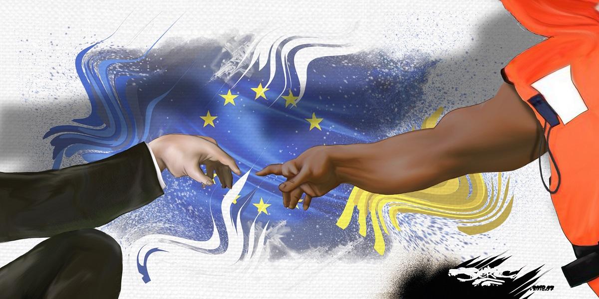dessin d'actualité illustrant la nécessaire solidarité entre l'Europe et les migrants
