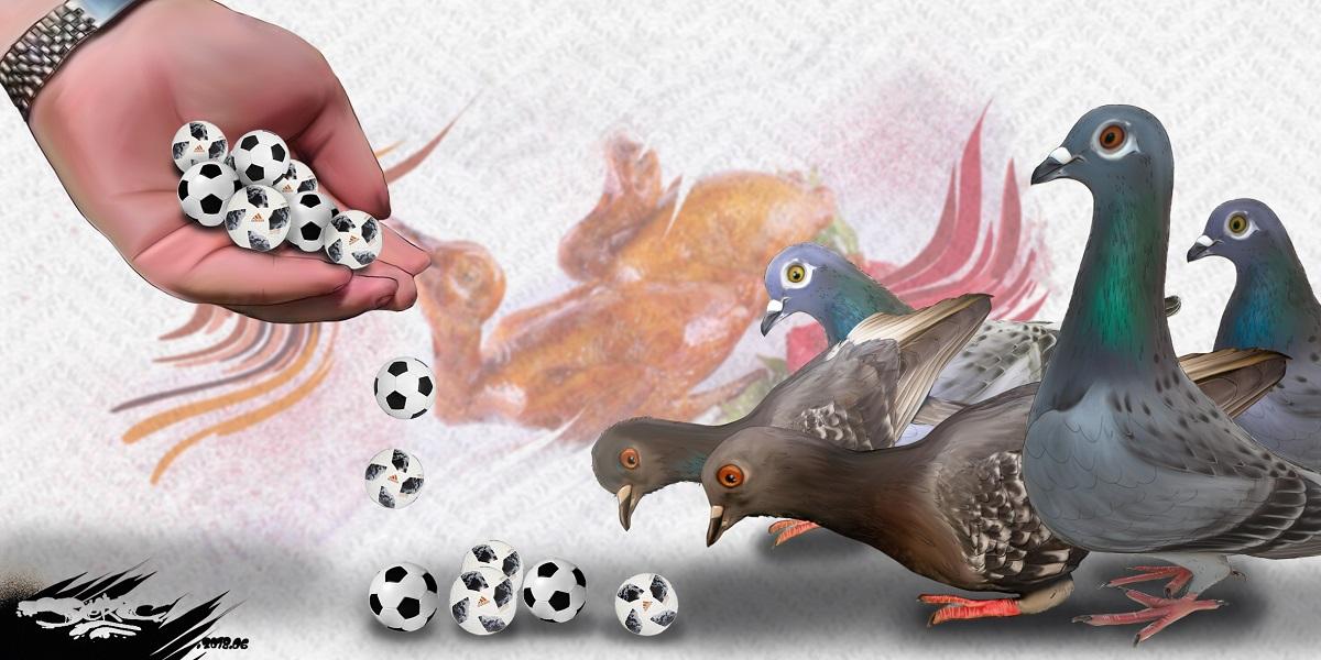 dessin d'actualité sur la Coupe du Monde de football et les pigeons qu'on nourrit