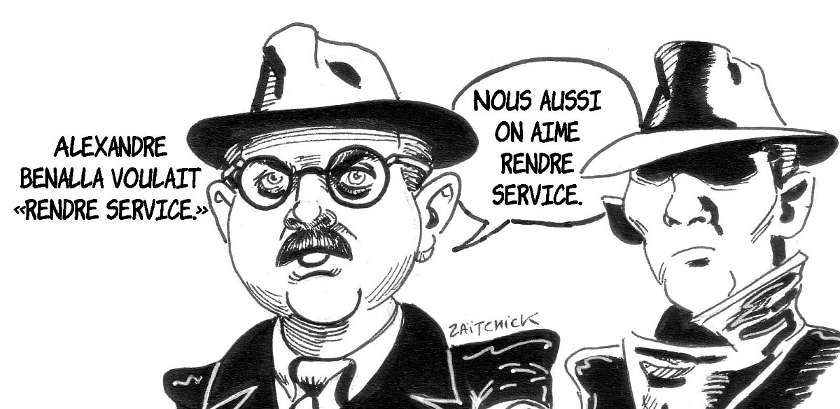 dessin d'actualité faisant le parallèle entre Alexandre Benalla et Gérard Jugnot dans Papy fait de la résistance