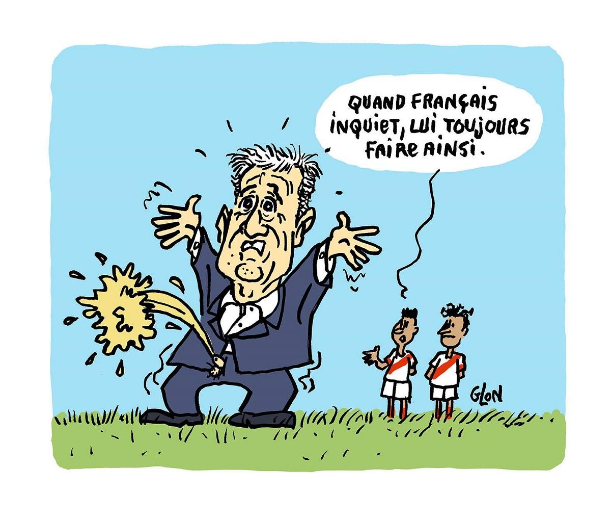 dessin d'actualité sur l'inquiétude de Didier Deschamps pour la Coupe du Monde