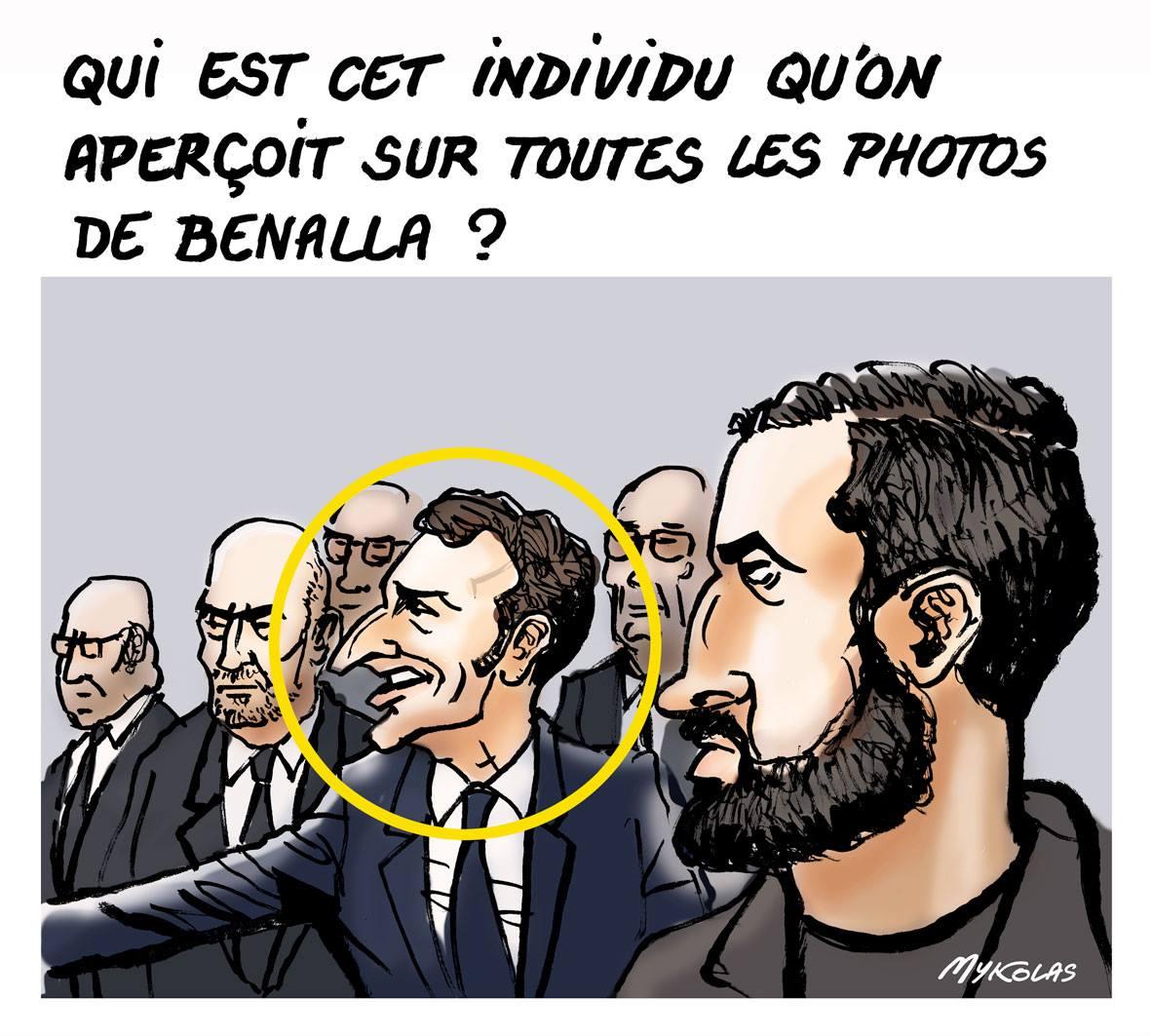 dessin d'actualité sur l'affaire Alexandre Benalla