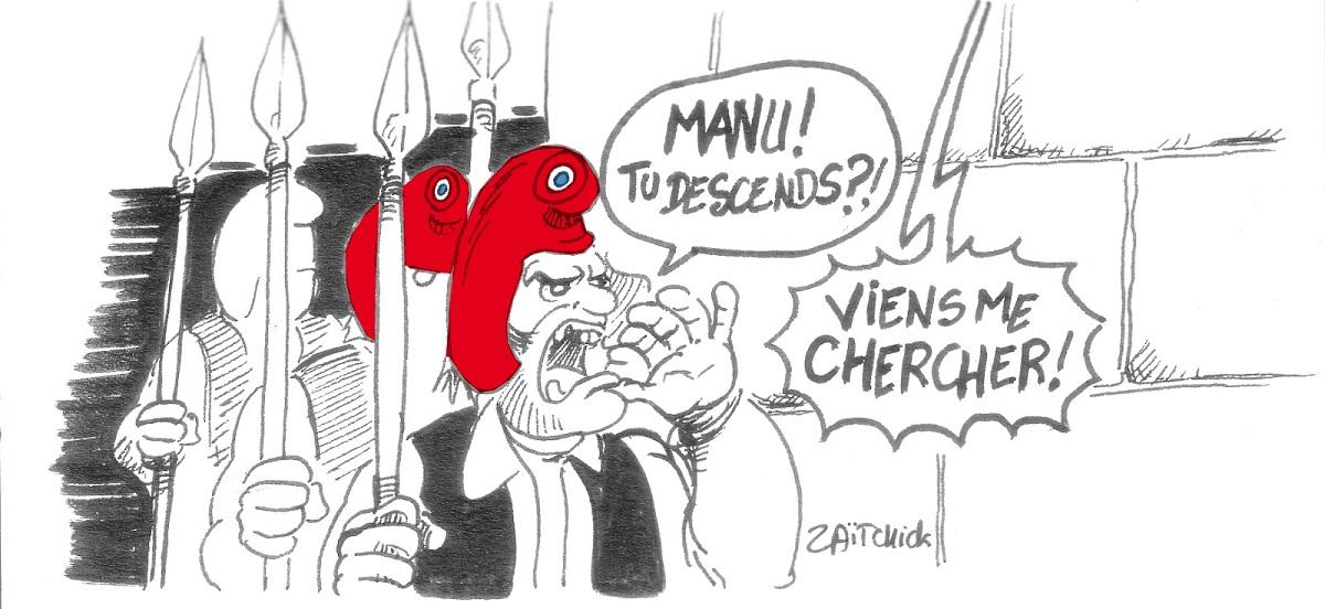 dessin d'actualité sur l'affaire Alexandre Benalla et l'attitude d'Emmanuel Macron