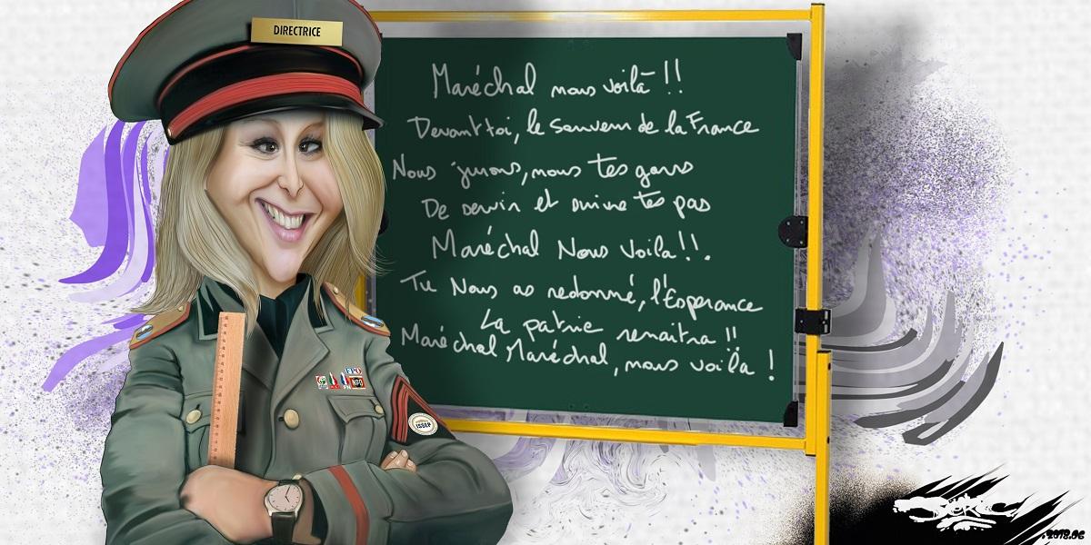 dessin d'actualité de Marion Maréchal-Le Pen en directrice d'école