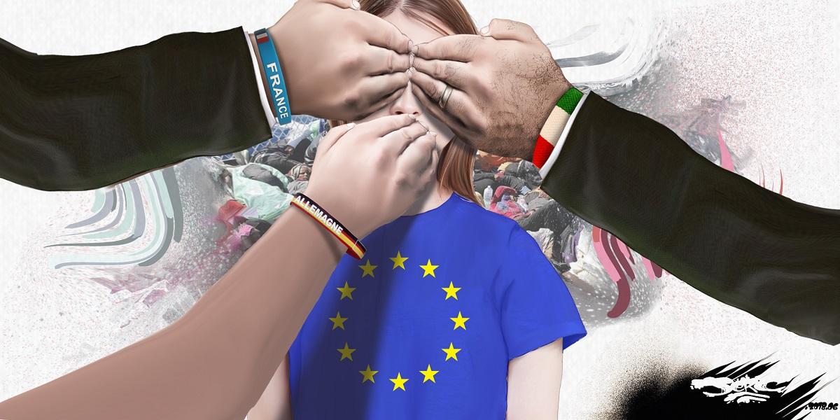 dessin d'actualité montrant l'aveuglement de l'Europe face au problème des migrants