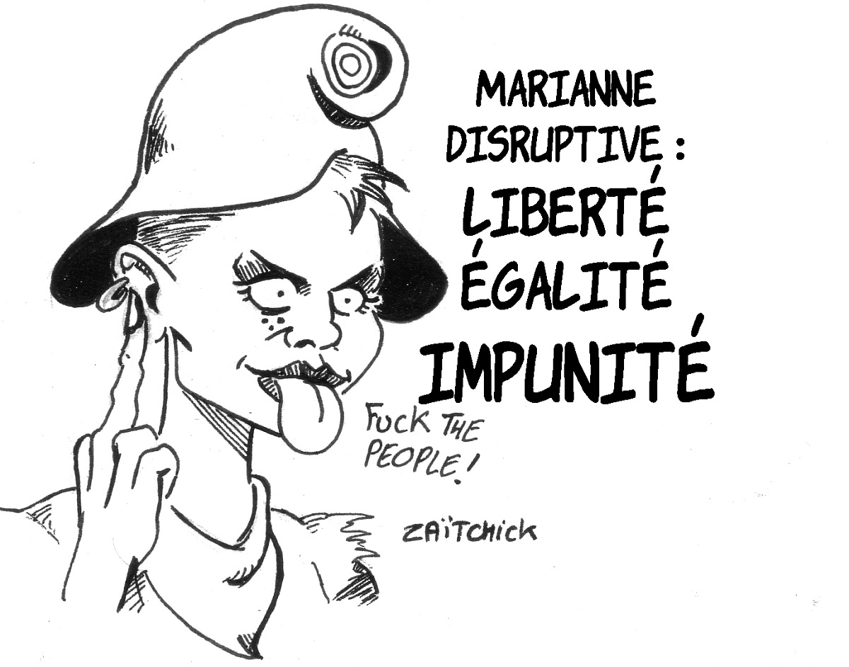 dessin d'actualité montrant la nouvelle Marianne disruptive