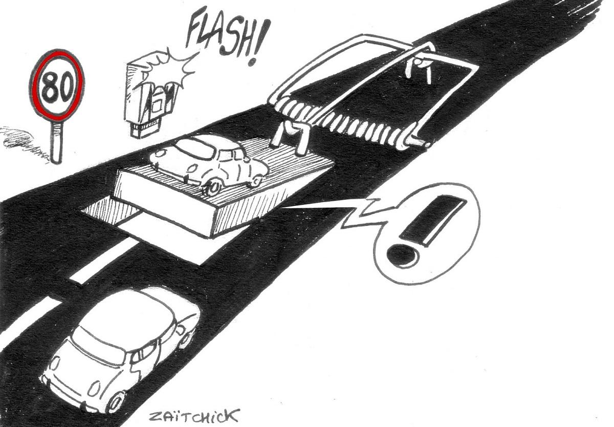 dessin d'actualité sur la limitation de vitesse sur les routes comme un piège à automobilistes