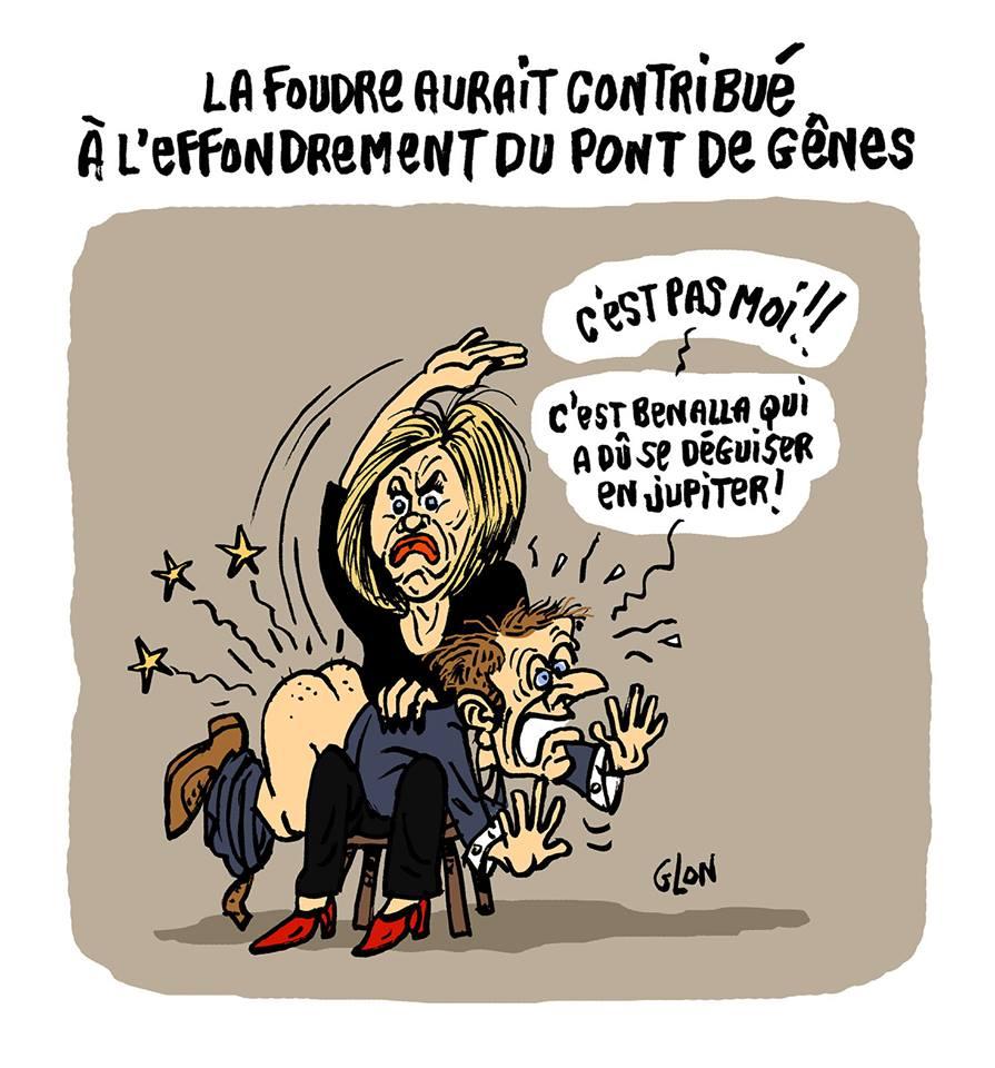 dessin humoristique de Brigitte Macron donnant une fessée à Emmanuel Macron pour la catastrophe du Viaduc de Gênes