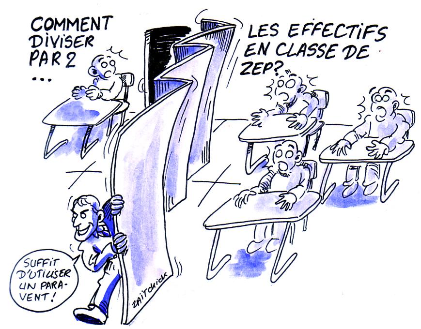 dessin d'actualité montrant la mise en pratique des classes à 12 élèves en ZEP