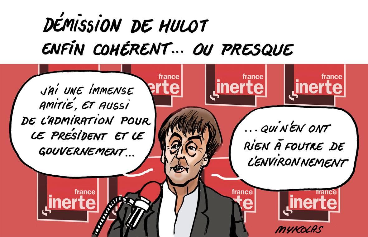 dessin d'actualité sur la démission de Nicolas Hulot
