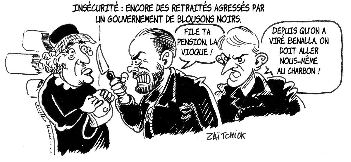 dessin d'actualité montrant Édouard Philippe et Emmanuel Macron dépouillant une retraitée