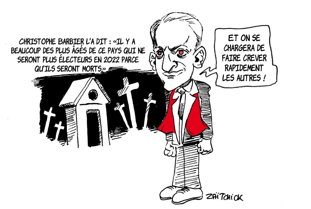 dessin d'actualité de Christophe Barbier parlant des électeurs qui vont mourir