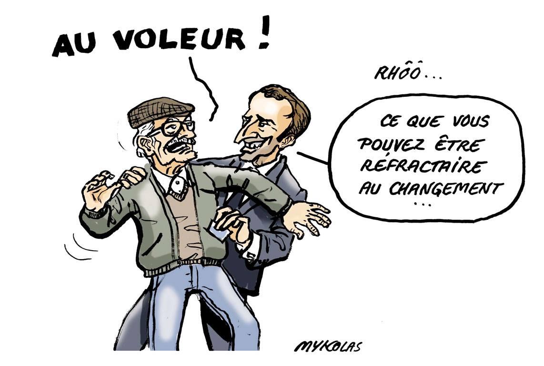 dessin d'actualité montrant Emmanuel Macron soutirant de l'argent à un retraité gaulois réfractaire