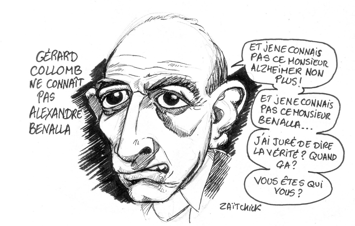 dessin d'actualité sur l'affaire Alexandre Benalla et l'attitude de Gérard Collomb