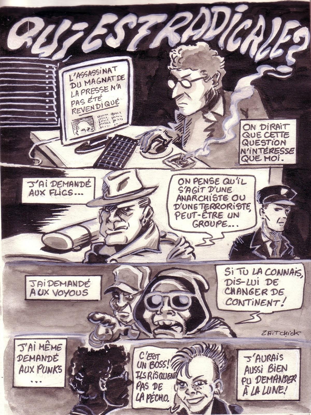 planche de recherche de la bande dessinée policière Radicale